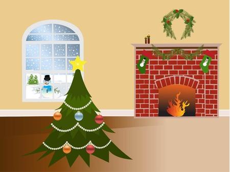fireplace: Christmas scene Illustration