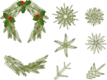 swag: Christmas wreath, ornaments and branches