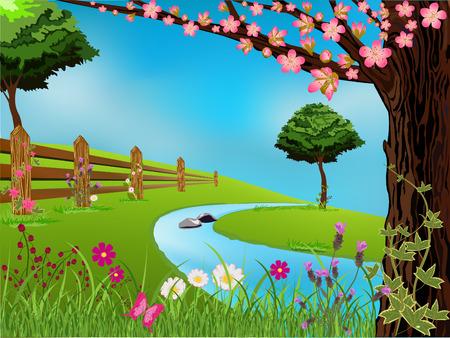 river rock: Scena di primavera con un bel cielo, alberi e fiori