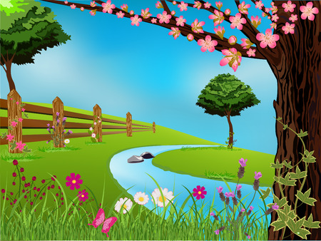 peach tree: Spring scene with flowers, trees and beautiful sky