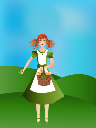 clover face: Girl with egg basket