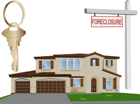 foreclosure: Vector home, foreclosure sign and a key Illustration