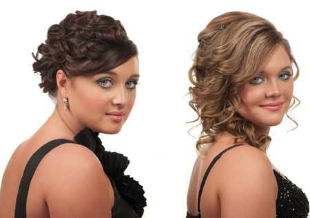 Sisters with beautiful hair and make up photo
