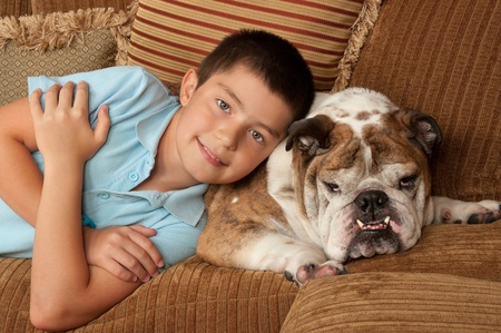 Bulldog and and his owner photo