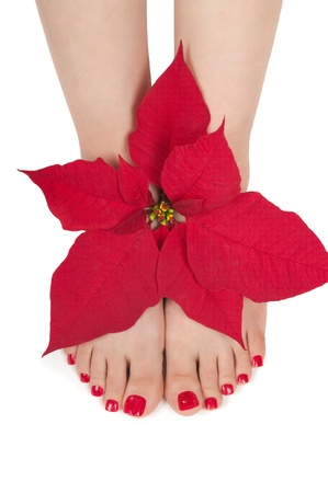 Christmas spa with pedicured feet
