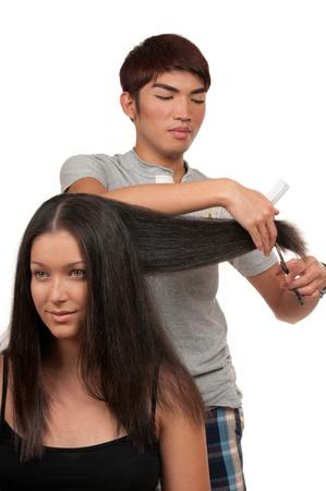 haircut: Young woman having a haircut