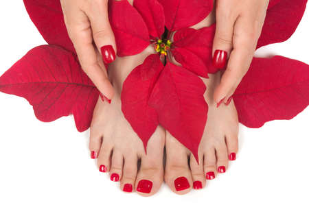 manicure and pedicure: Spa with manicured hands and pedicured feet Stock Photo