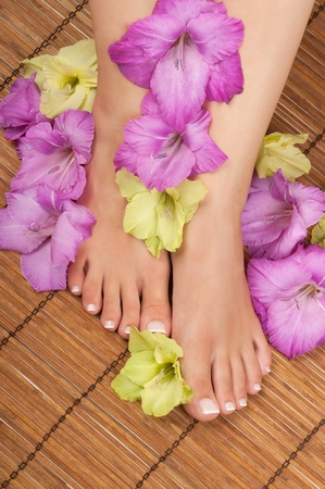 pedicure: Pedicure and manicure spa with orchids