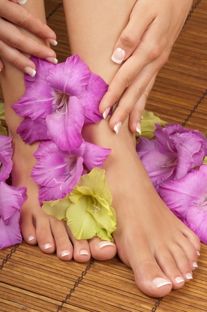 manicure and pedicure: Pedicure and manicure spa with orchids