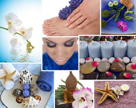 collage spa: Spa collage con aromaterapia, pedicura y masaje Foto de archivo