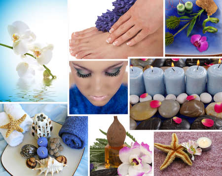 manicure and pedicure: Spa collage with aromatherapy, pedicure and massage