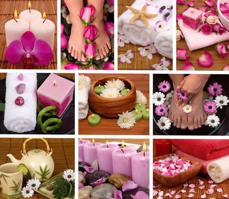 Spa collage with aromatherapy, pedicure and massage photo