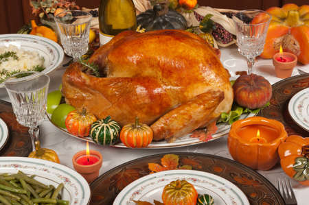 roasted turkey: Thanksgiving celebration and dinner