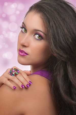 glitter makeup: Young woman with beautiful, make up, hair and manicure Stock Photo
