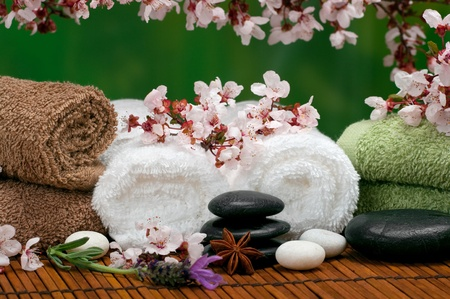salon and spa: Spa scene with pebbles, lavender, towels and cherry blossoms