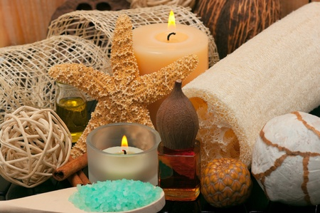 beauty parlor: Spa scene with loofah and aromatic candles Stock Photo