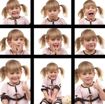 collage caras: Niño lindo con las diferentes expresiones de la cara Foto de archivo