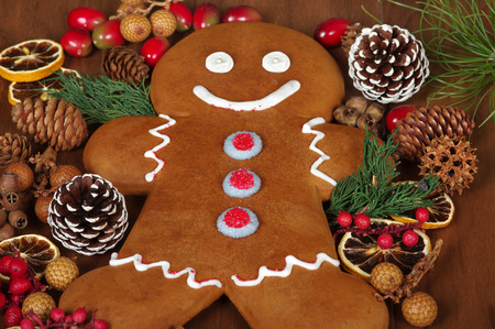 gingerbread man: Gingerbread man with Christmas potpourri Stock Photo