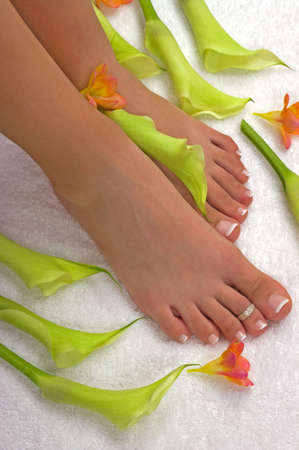 Spa treatment with beautiful lilies and