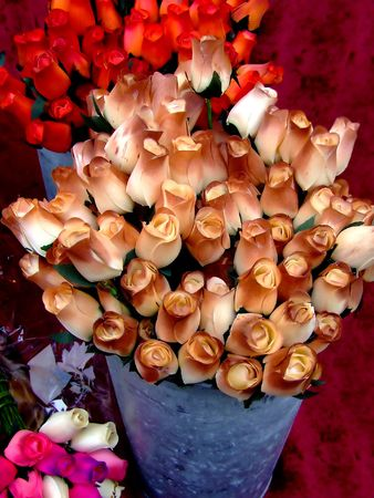 dozens: Buckets of dozens of roses in brown color on a table