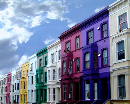 Buildings in a row in multi color walls photo
