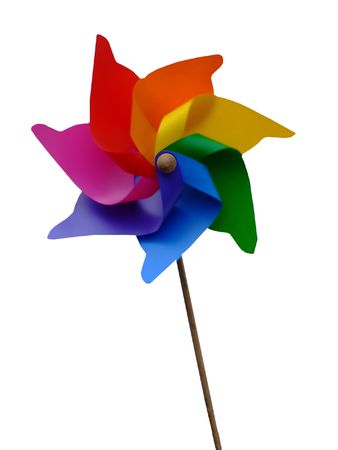 Weathercock in a shape of colorful flower with clean white background photo