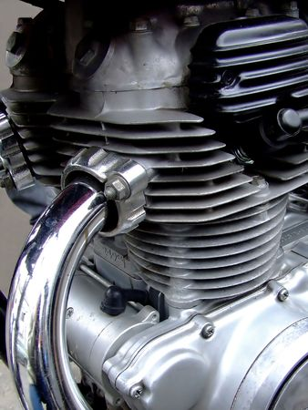 Close shot of motorcycle engine