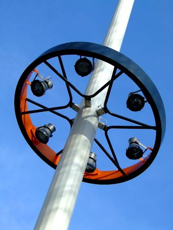 searchlights: Searchlights on a circle frame on a post