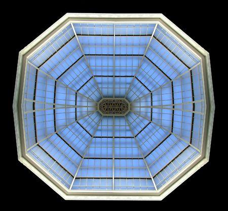 octogonal: Ver a trav�s de techo de cristal en forma octogonal
