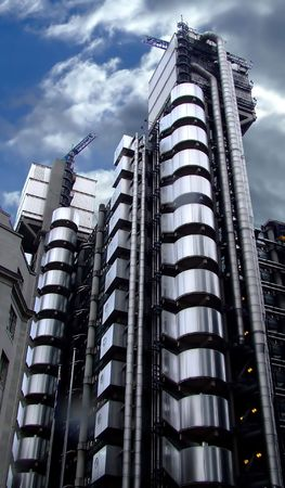 Modern architecture tall metal building construction photo