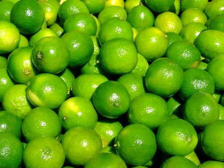 Bunch of limes on a market