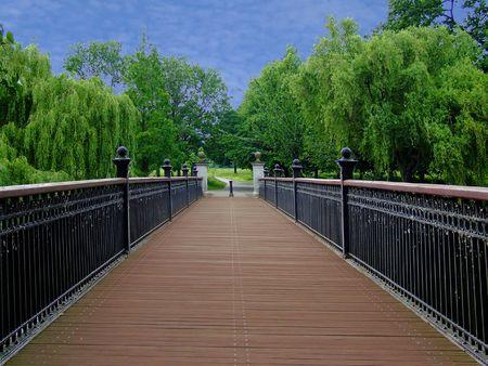 Wooden walking bridge way