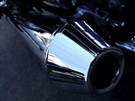 exhaust valve: Motorcycle exhaust closeup