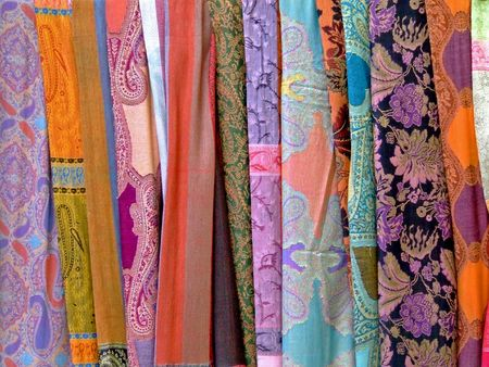 scarves: Variety of decorated silk scarves in many colors