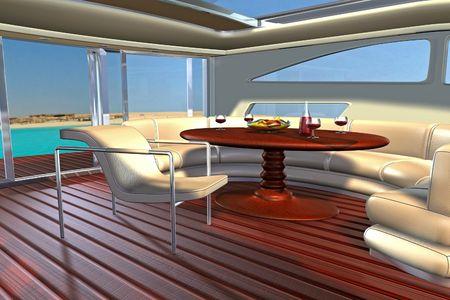 slide glass: Luxury yacht wooden living room interior Stock Photo