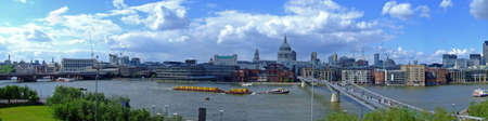 thames: Cloudy sky day London and Thames river panorama