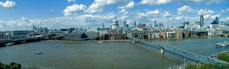 Sunny day London and Thames river panorama