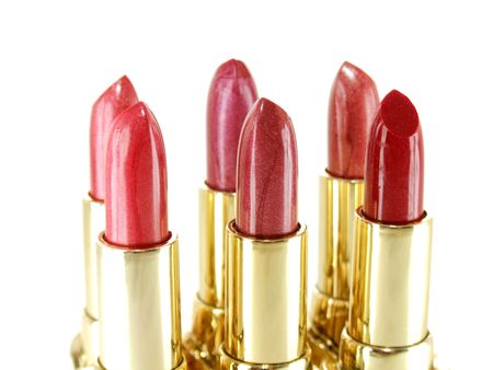 makeups: Collection of six red tone lipstick makeups Stock Photo