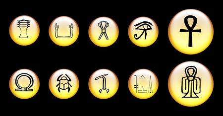 Yellow 3d web buttons with Egyptian symbols photo