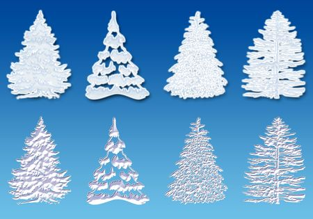 3d rendering of eight Christmas tree cover with snow photo