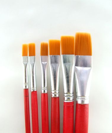 handgrip: Paint brush set of six different sizes Stock Photo