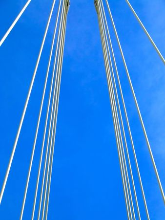 New structure of suspension bridge cables perspective Stock Photo - 685570