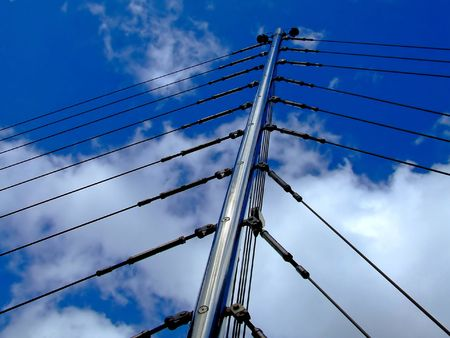 Suspension bridge boom with lot of wires Stock Photo - 686460