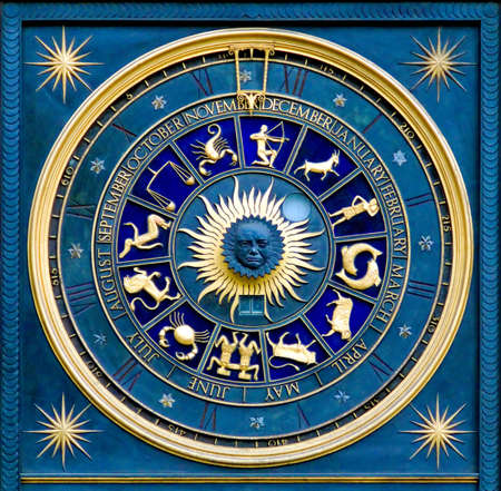 zodiac constellations: Blue zodiac clock with gold deatail and decoration