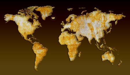3d rendering of world map with retro texture photo