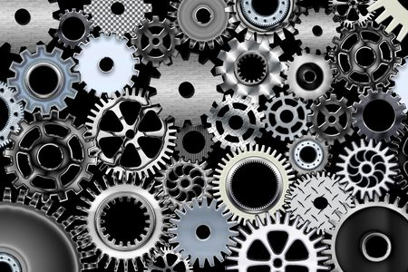 Lot of mechanic gears and wheels 3d Stock Photo