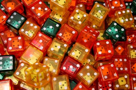 Bunch of plastic dices with another dice inside Stock Photo - 806566