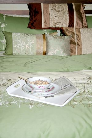 fresh news: Fresh served breakfast and news in the bed Stock Photo