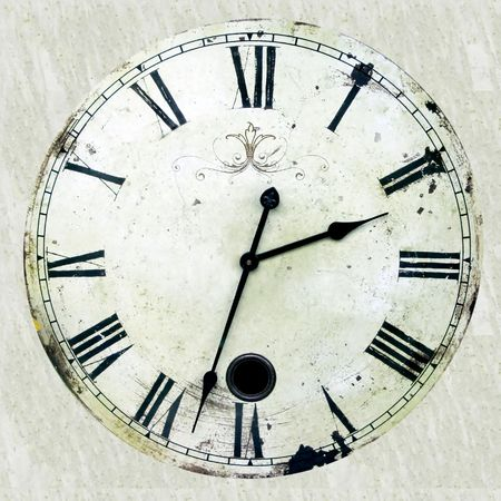 Very old and rusty antique clock with roman numbers