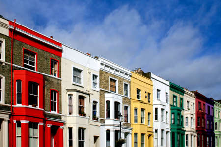 Famous London Street with lot of color houses photo